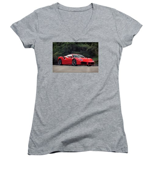 #ferrari #488gtb Women's V-Neck T-Shirt