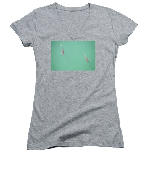 Women's V-Neck T-Shirt (Junior Cut) featuring the photograph 2 Fish In A Pond by Paul SEQUENCE Ferguson             sequence dot net