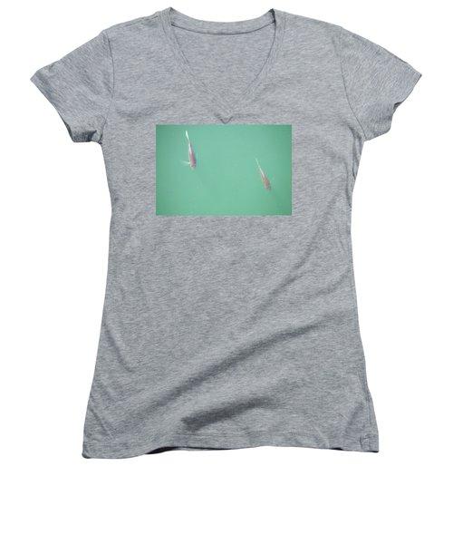 2 Fish In A Pond Women's V-Neck T-Shirt (Junior Cut) by Paul SEQUENCE Ferguson             sequence dot net