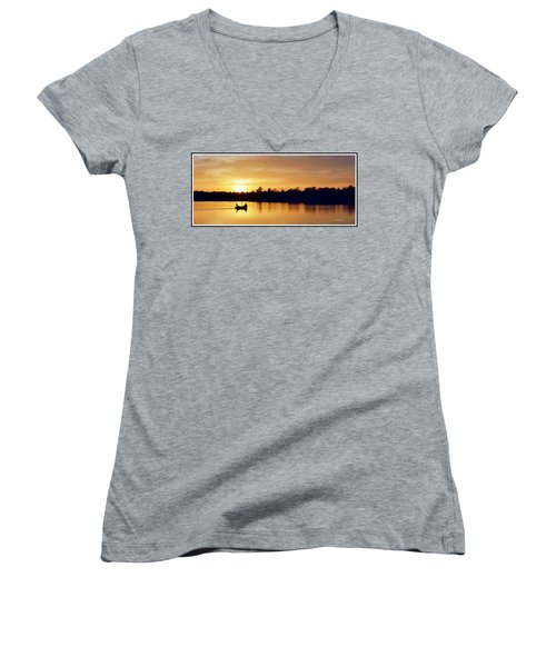 Fishermen On A Lake At Sunset Women's V-Neck T-Shirt (Junior Cut) by A Gurmankin
