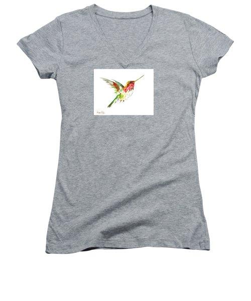 Flying Hummingbird Women's V-Neck T-Shirt (Junior Cut) by Suren Nersisyan