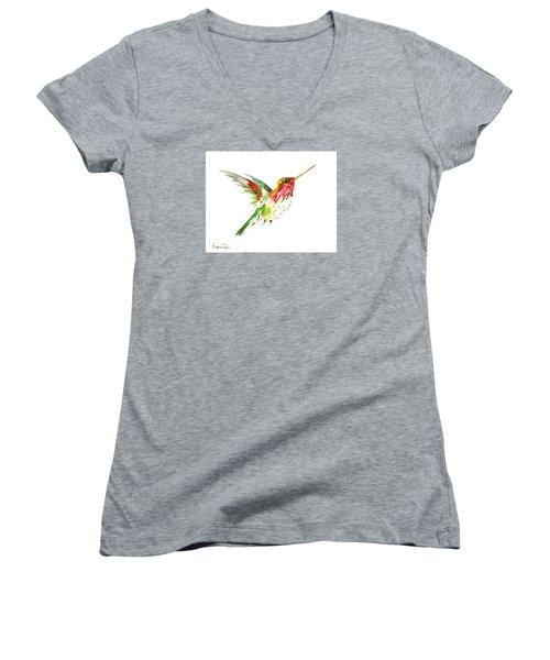 Flying Hummingbird Women's V-Neck T-Shirt
