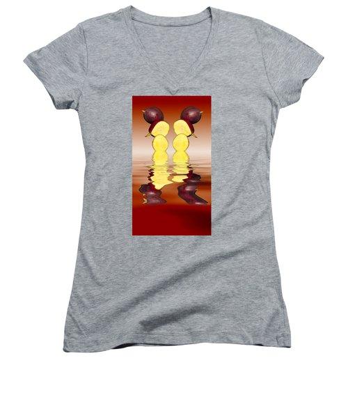 Fresh Ripe Mango Fruits Women's V-Neck T-Shirt (Junior Cut) by David French