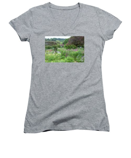 Giverny Monet's Garden Women's V-Neck (Athletic Fit)