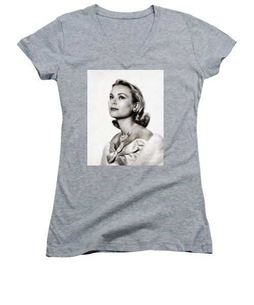 Grace Kelly, Vintage Hollywood Actress Women's V-Neck T-Shirt (Junior Cut) by John Springfield