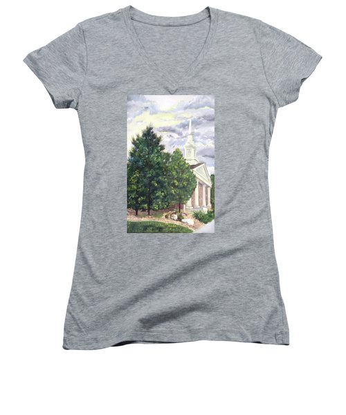 Women's V-Neck T-Shirt (Junior Cut) featuring the painting Hale Street Chapel by Jane Autry