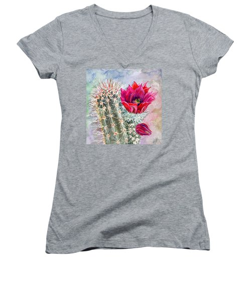 Hedgehog Cactus Women's V-Neck T-Shirt (Junior Cut) by Marilyn Smith