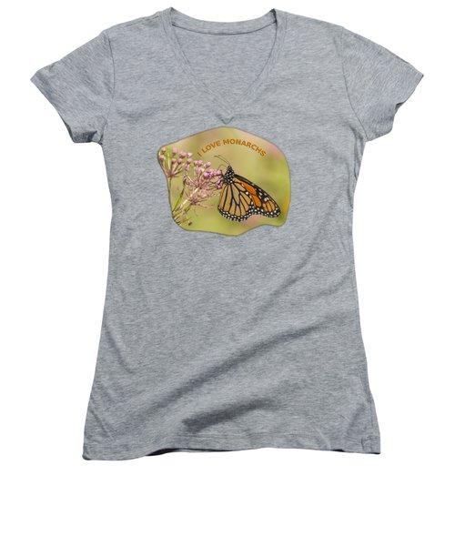 I Love Monarchs Women's V-Neck