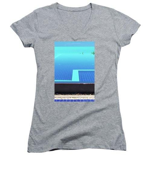 Women's V-Neck T-Shirt (Junior Cut) featuring the photograph Infinity Pool by Atiketta Sangasaeng