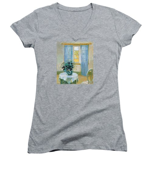 Interior With Clematis Women's V-Neck T-Shirt