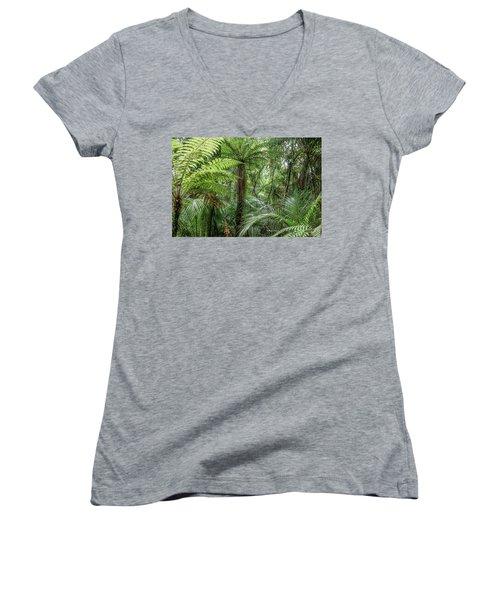 Women's V-Neck T-Shirt (Junior Cut) featuring the photograph Jungle Ferns by Les Cunliffe