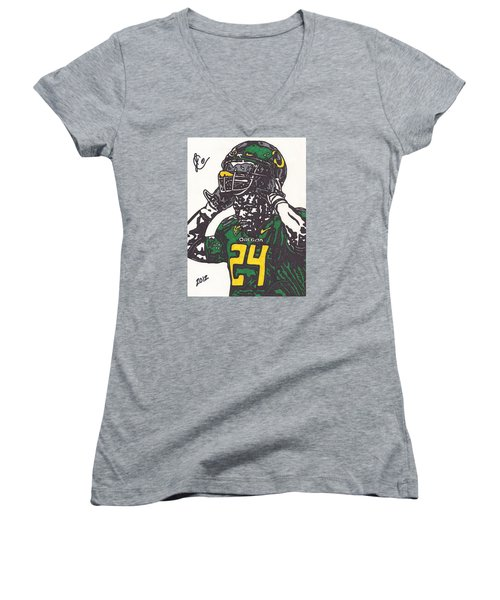 Women's V-Neck T-Shirt (Junior Cut) featuring the drawing Kenjon Barner 1 by Jeremiah Colley