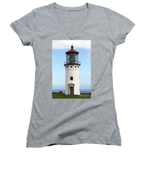 Kilauea Lighthouse On Kauai Women's V-Neck T-Shirt (Junior Cut) by Catherine Sherman