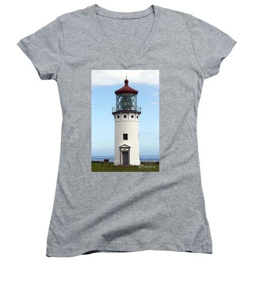 Kilauea Lighthouse On Kauai Women's V-Neck (Athletic Fit)