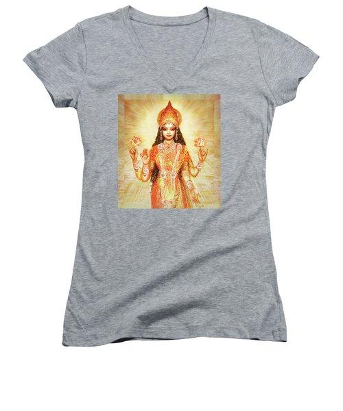 Lakshmi The Goddess Of Fortune And Abundance Women's V-Neck T-Shirt