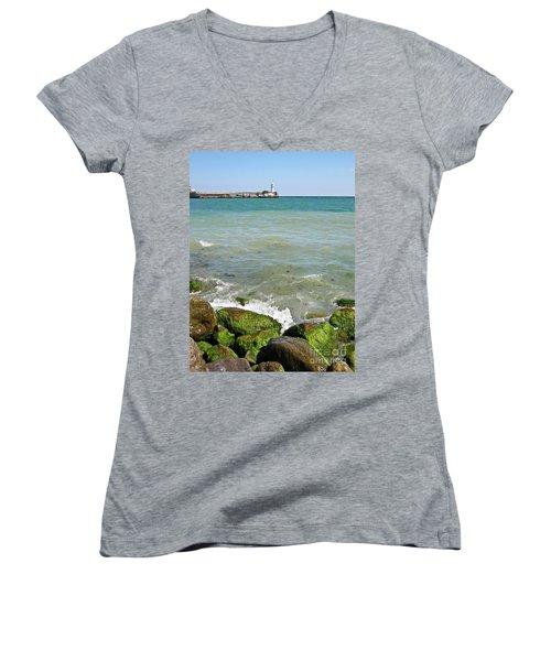 Lighthouse In Sea Women's V-Neck T-Shirt (Junior Cut) by Irina Afonskaya