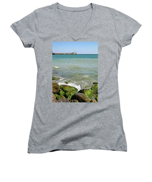 Lighthouse In Sea Women's V-Neck (Athletic Fit)