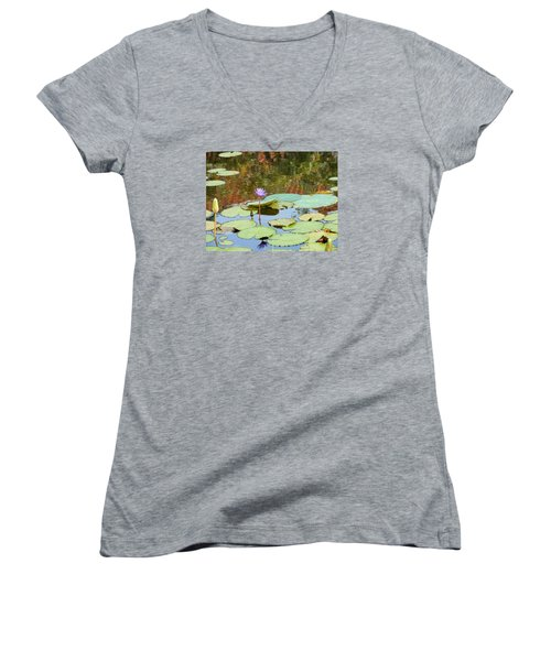 Lily Pond Women's V-Neck T-Shirt (Junior Cut) by Kay Gilley