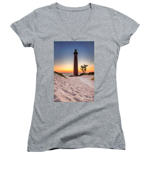 Women's V-Neck T-Shirt (Junior Cut) featuring the photograph Little Sable Point Light Station by Larry Carr