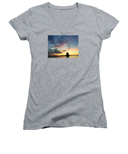 Lorain Lighthouse Women's V-Neck (Athletic Fit)