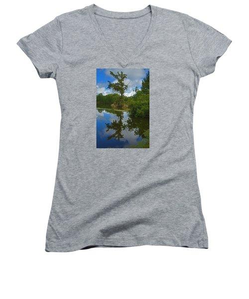 Louisiana  Bald Cypress Tree Women's V-Neck T-Shirt (Junior Cut) by Ronald Olivier