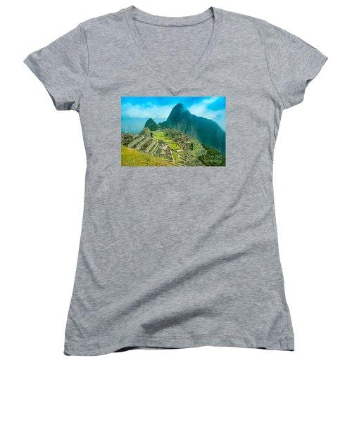 Machu Picchu  Women's V-Neck T-Shirt (Junior Cut) by Mariusz Czajkowski