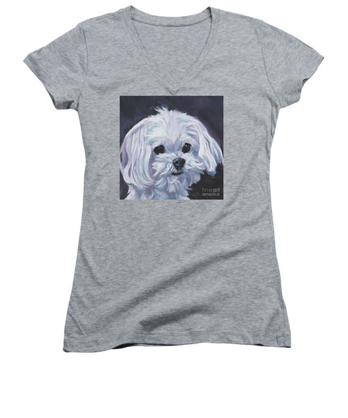 Women's V-Neck T-Shirt (Junior Cut) featuring the painting Maltese by Lee Ann Shepard