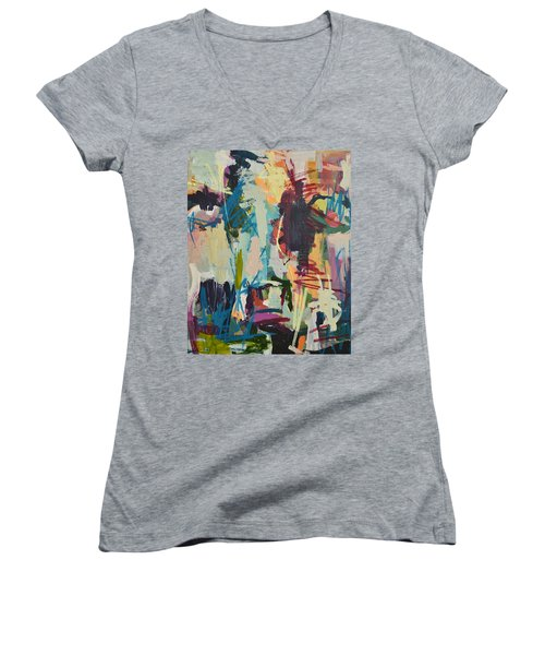 Modern Abstract Cow Painting Women's V-Neck (Athletic Fit)