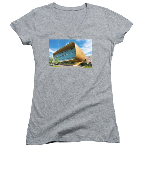Women's V-Neck T-Shirt (Junior Cut) featuring the photograph Modern Building by Hans Engbers