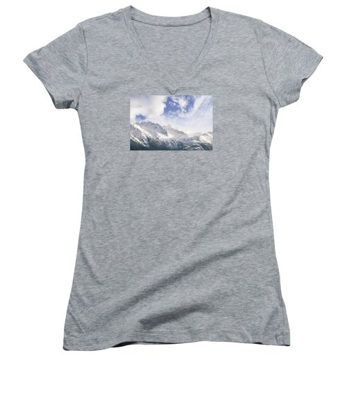Mountains And Clouds Women's V-Neck T-Shirt (Junior Cut) by Michele Cornelius