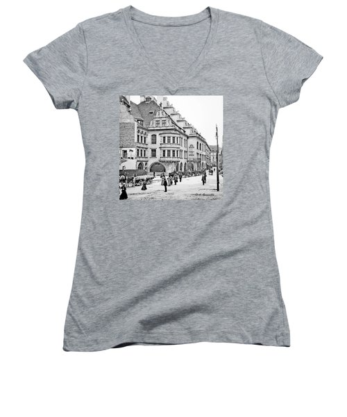 Women's V-Neck T-Shirt (Junior Cut) featuring the photograph Munich Germany Street Scene 1903 Vintage Photograph by A Gurmankin