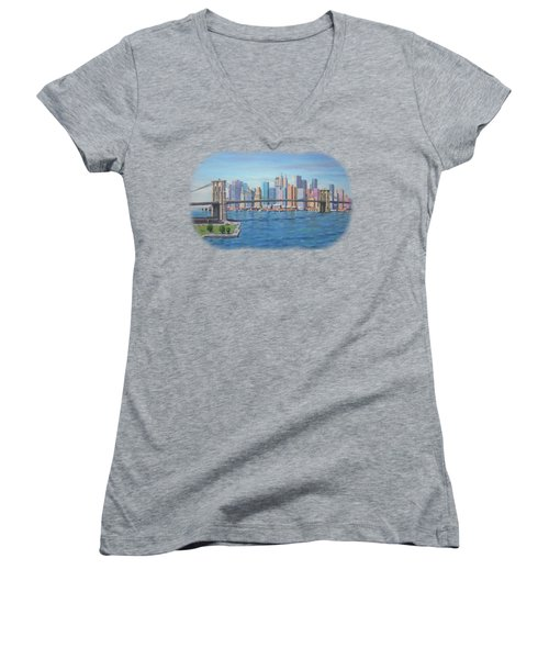 New York Brooklyn Bridge Women's V-Neck T-Shirt (Junior Cut) by Renato Maltasic