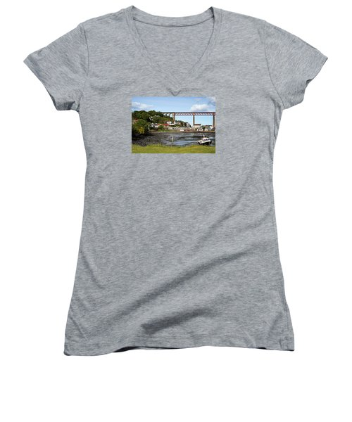 Women's V-Neck T-Shirt (Junior Cut) featuring the photograph North Queensferry by Jeremy Lavender Photography