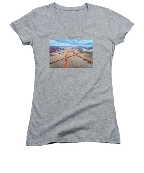 northern Colorado foothills aerial view Women's V-Neck