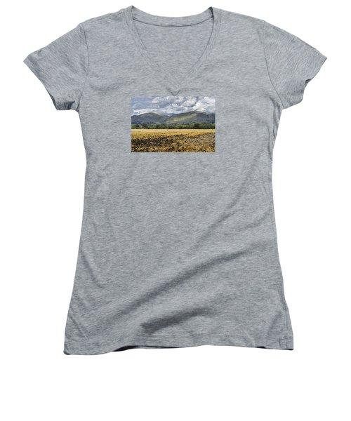 Ochil Hills Women's V-Neck T-Shirt (Junior Cut) by Jeremy Lavender Photography