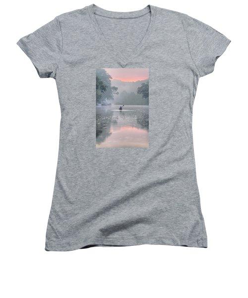 Paddling In Mist Women's V-Neck T-Shirt (Junior Cut) by Robert Charity