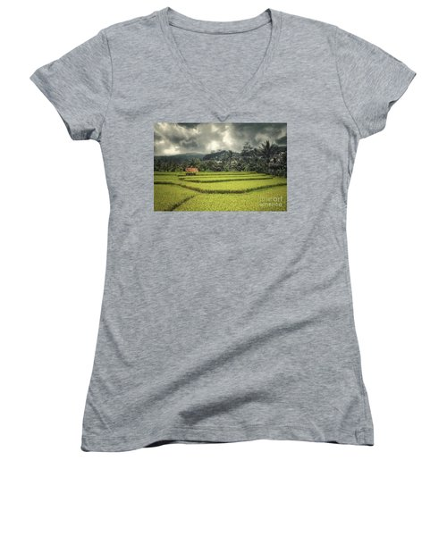 Women's V-Neck T-Shirt (Junior Cut) featuring the photograph Paddy Field by Charuhas Images