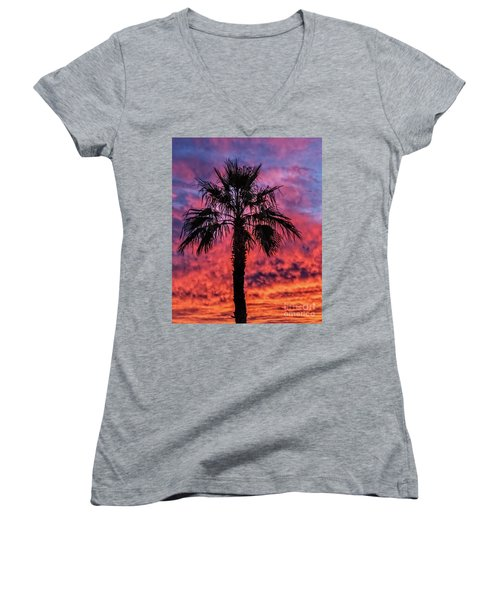 Palm Tree Silhouette Women's V-Neck T-Shirt (Junior Cut) by Robert Bales
