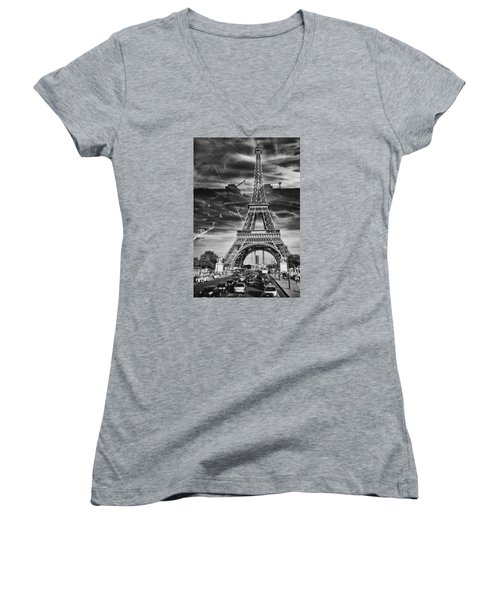 Paris Women's V-Neck T-Shirt (Junior Cut) by Hayato Matsumoto