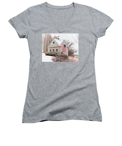 Patriotic Barn Women's V-Neck T-Shirt (Junior Cut) by Tricia Marchlik