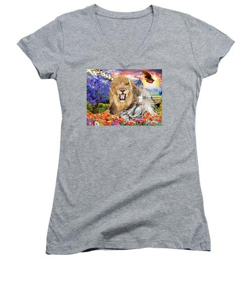 Perfect Peace Women's V-Neck T-Shirt (Junior Cut) by Dolores Develde