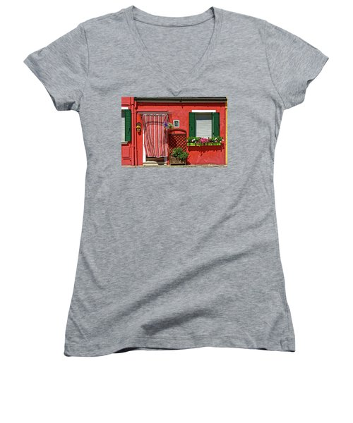 Picturesque House In Burano Women's V-Neck