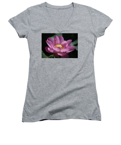 Pink Lotus Blossom Women's V-Neck (Athletic Fit)