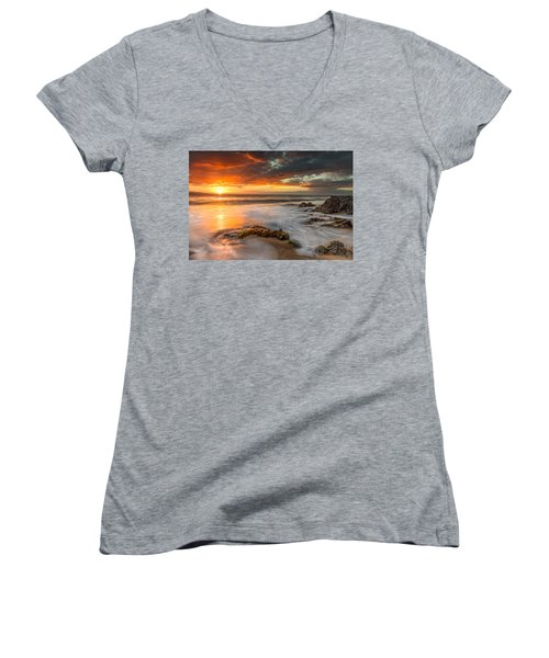 Poolenalena Sunset Women's V-Neck T-Shirt (Junior Cut) by James Roemmling