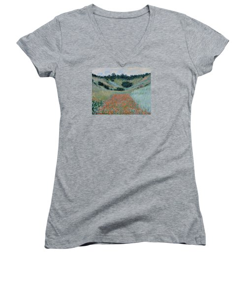 Poppy Field In A Hollow Near Giverny Women's V-Neck T-Shirt (Junior Cut) by Claude Monet