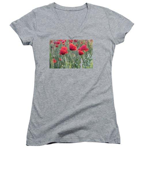 Poppy Flowers Women's V-Neck