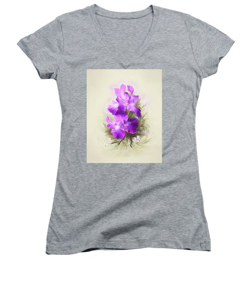 Purple Iris Women's V-Neck (Athletic Fit)