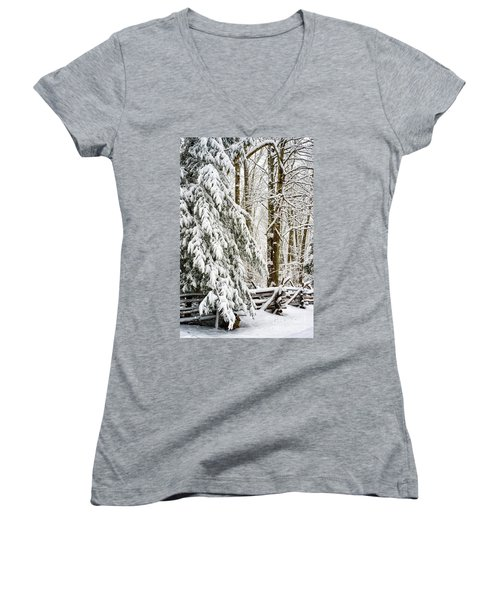 Women's V-Neck T-Shirt (Junior Cut) featuring the photograph Rail Fence And Snow by Thomas R Fletcher