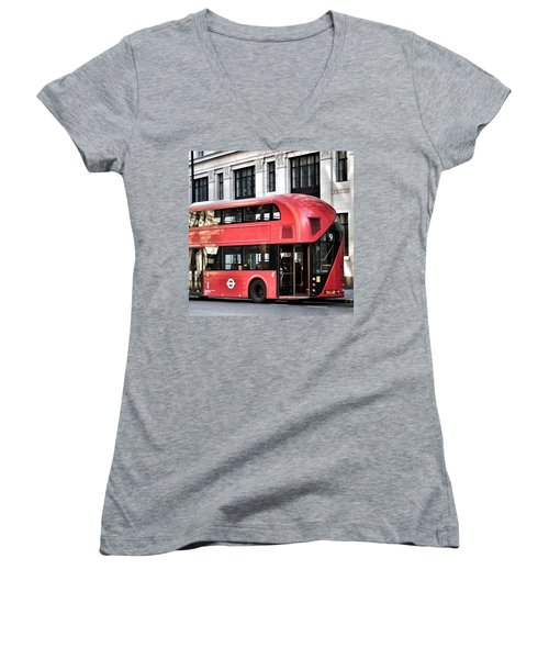 Red Bus In London  Women's V-Neck
