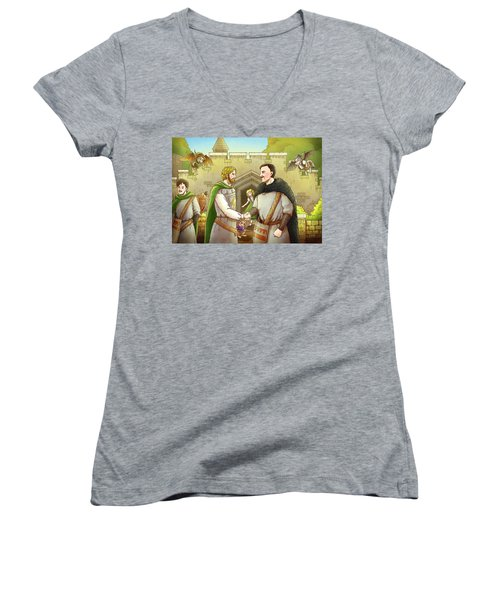 Robin Hood And The Captain Of The Guard Women's V-Neck T-Shirt (Junior Cut) by Reynold Jay
